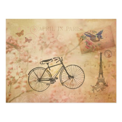 Romantic Vintage Paris in Spring Collage Post Cards