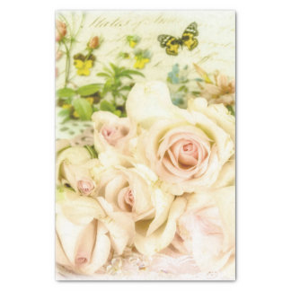 Romantic Vintage Pastel Yellow Roses and Butterfly Tissue Paper