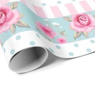 Romantic Vintage Pink & Mint Floral Roses Pattern