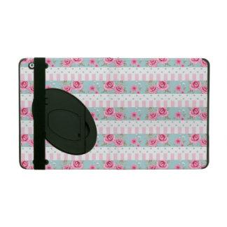 Romantic Vintage Pink & Mint Floral Roses Pattern iPad Case