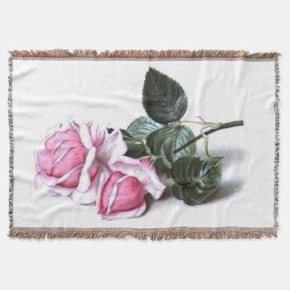Romantic Vintage Pink Roses Afghan