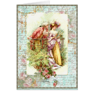 Romantic Vintage Regency Couple with Roses Greeting Card