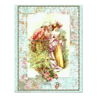 Romantic Vintage Regency Couple with Roses Personalized Invites