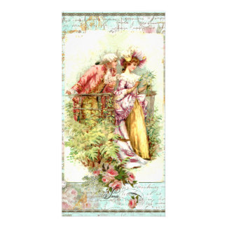 Romantic Vintage Regency Couple with Roses Picture Card
