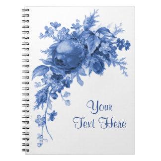 Romantic Vintage Rose In Blue Spiral Notebook