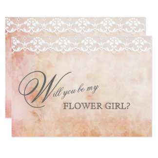 Romantic Vintage Rose Lace BE MY FLOWER GIRL Card