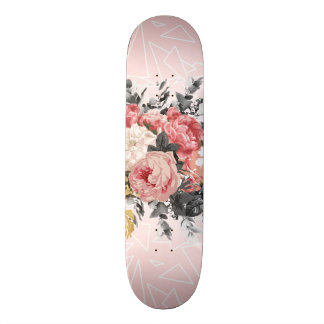 Romantic vintage roses and geometric design skateboard deck