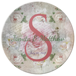 Romantic vintage roses and text wedding plate