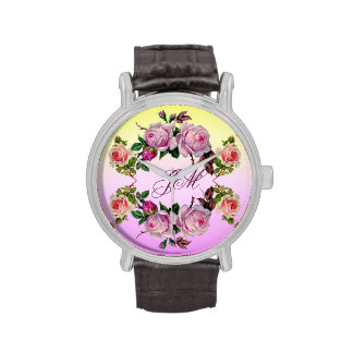 Romantic Vintage Roses & Monogram watch