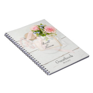 Romantic vintage spring flower wedding guest book spiral note book