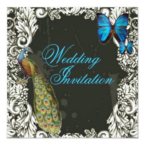 romantic vintage turquoise teal peacock wedding 13 cm x 13 cm square invitation card