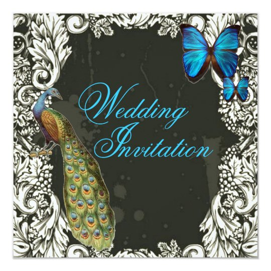 romantic vintage turquoise teal peacock wedding card