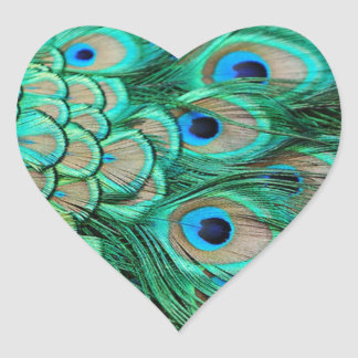 romantic vintage turquoise teal peacock wedding heart sticker