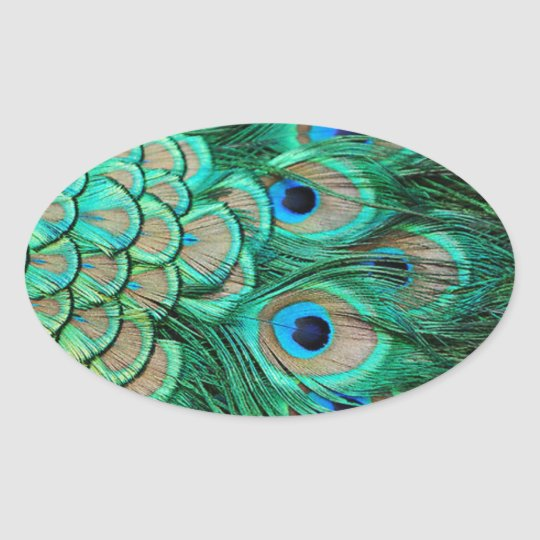romantic vintage turquoise teal peacock wedding oval sticker