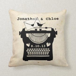 Romantic Vintage Typewriter Cushion