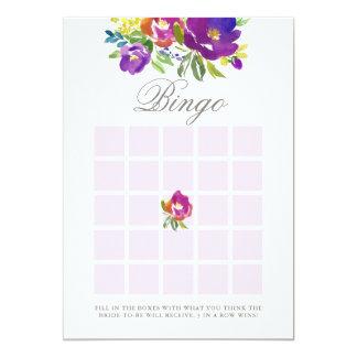 Romantic Violet Floral Bridal Shower Bingo Game Card