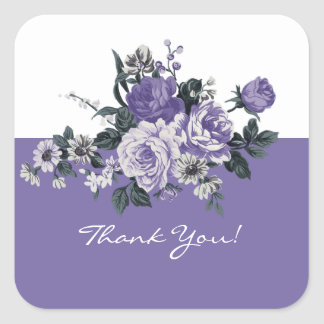 Romantic Violet Flowers Thank You Stickers