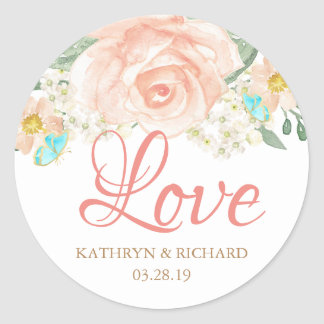 Romantic Watercolor Blush Peach Floral Love Script Classic Round Sticker