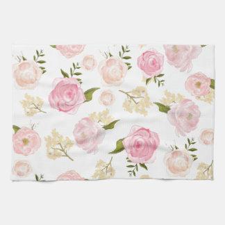 Romantic Watercolor Blush Peonies Floral Pattern Kitchen Towels