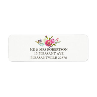 Romantic Watercolor Floral Return Address Labels