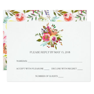 Romantic Watercolor Floral RSVP Cards