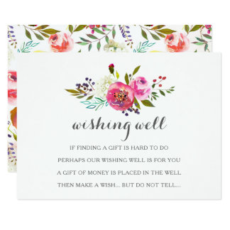 Romantic Watercolor Floral Wishing Well Cards