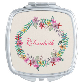 Romantic Watercolor Floral Wreath Custom Name Travel Mirrors
