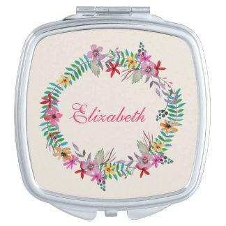 Romantic Watercolor Floral Wreath Custom Name Travel Mirrors