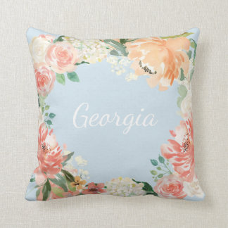 Romantic Watercolor Florals Name on Back Cushion