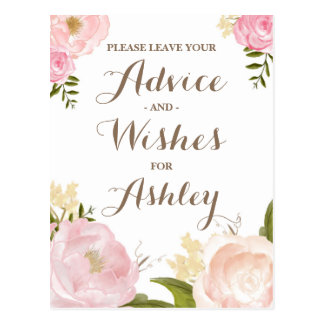 Romantic Watercolor Flowers Advie for the Bride Postcard