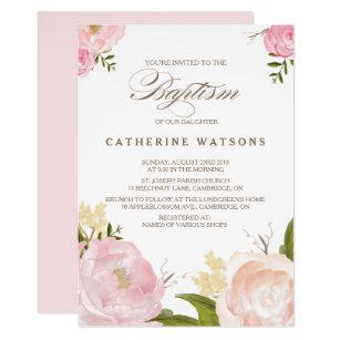 Baptism invitations announcements zazzle romantic watercolor flowers baptism invitation stopboris Choice Image