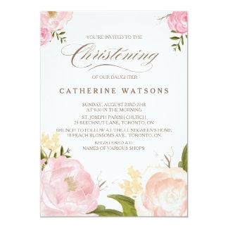 Romantic Watercolor Flowers Christening Photo 13 Cm X 18 Cm Invitation Card