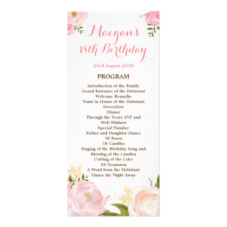 Romantic Watercolor Flowers Program - CUSTOM Rack Card