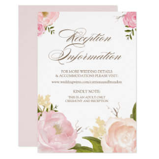Romantic Watercolor Flowers Reception Card