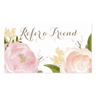Romantic Watercolor Flowers Refer a Friend Card Pack Of Standard Business Cards