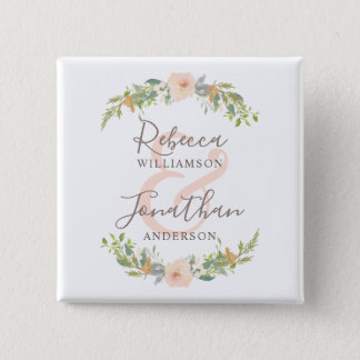 Romantic Watercolor Flowers Wedding 15 Cm Square Badge
