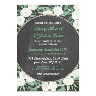 Romantic Watercolor Flowers Wedding Chalk Invite