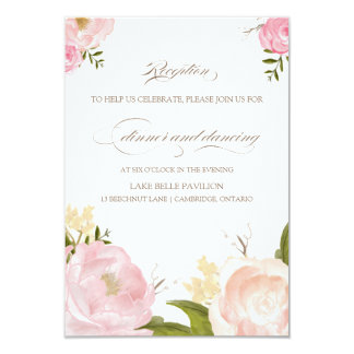 Romantic Watercolor Flowers Wedding Reception Card Personalized Invites