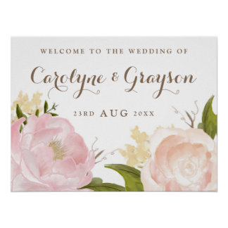 Romantic Watercolor Flowers Wedding Welcome Sign Poster