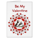 Romantic  Watercolor  Puffin Bird  Valentine Card