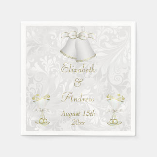 Romantic Wedding Bells & Champagne Flutes Disposable Napkins