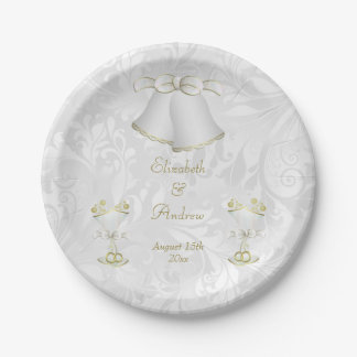 Romantic Wedding Bells & Champagne Flutes 7 Inch Paper Plate