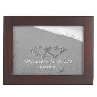 Romantic wedding keepsake box with hearts in sand