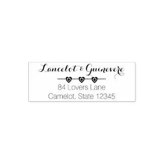 Romantic Wedding Monogram | Hearts Return Address Self-inking Stamp
