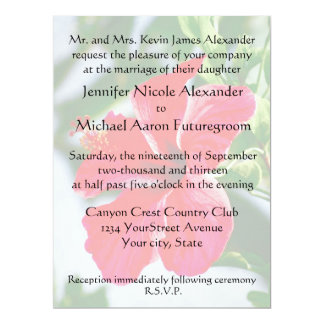Romantic Wedding Red Hibiscus 17 Cm X 22 Cm Invitation Card