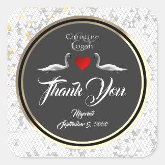 Romantic Wedding Swan Thank You Design Square Sticker