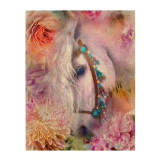 Romantic White Horse with Ladybug Wood Wall Art