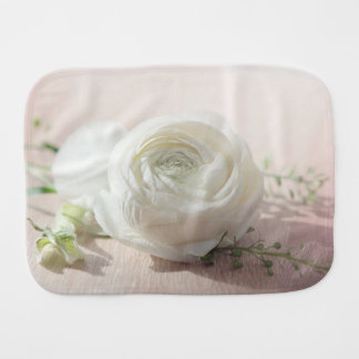 Romantic White Rose Baby Burp Cloth
