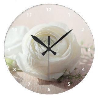 Romantic White Rose Clock