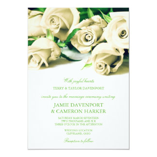 Romantic White Roses Wedding Invite